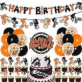 BMX Geburtstagsdekorationen für Jungen – Fahrrad Happy Birthday Banner Kuchen Topper Dirt Bike Cupcake Topper für Extremsport Thema Geburtstag Party Supplies orange und schwarz