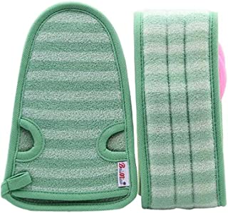2 Of Soft Bath Mitts Exfoliating Gloves Bath Belts for Female, GREEN