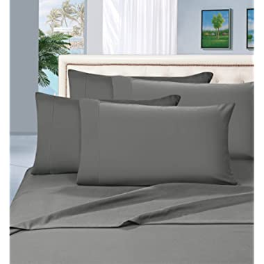 Elegant Comfort Wrinkle Resistant Luxury 6-Piece Bed Sheet Set - 1500 Thread Count Egyptian Quality Silky Soft Sheet Set - California King, Gray
