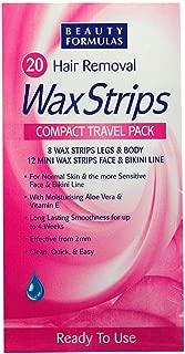 Beauty Formulas Hair Removal Wax Strips Compact Travel Pack 20 Pcs (8-leg & Body+12 face & bikini)