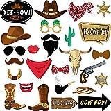 26 Stücke Westen Cowboy Foto Booth Requisiten Kit, Western Party Dekorationen Selfie Requisiten für Western Cowboy Thema Party Gefallen Lieferungen