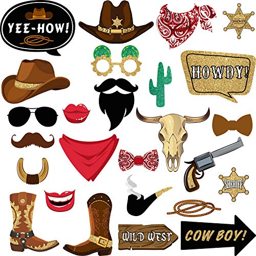 26 Pieces West Cowboy Photo Booth Props Kit, Western Party Decorations Selfie Props for Western Cowboy Theme Party Favors Supplies