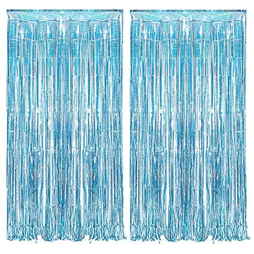 Cortinas De Oropel Metálico, Cortina De Papel De Borla, Cortina Brillante Fiesta, Cortina De Lámina, Cortinas Decorativas De Fondo Para Cumpleaños, Fiestas, Bodas (1 x 2,5 m) 2 Piezas (Azul)