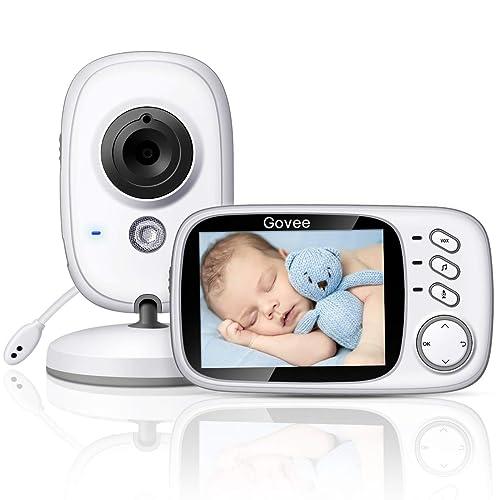 """Babyphone Caméra, Govee Bébé Moniteur Vidéo Sans fil 3,2"""" Écran LCD Couleur Ecoute Vision Nocturne Surveillance de la Température, Jouer les Berceuses et Système de Communication Bidirectionnelle."""