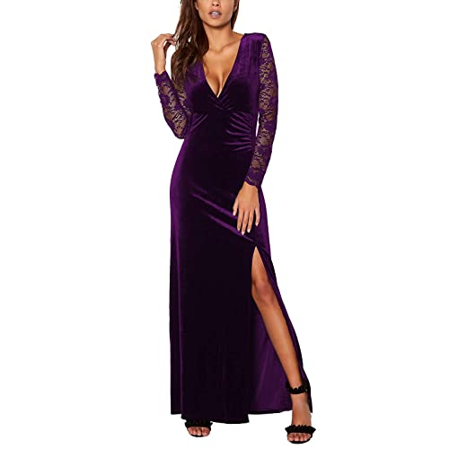 9caac514b8324b Meenew Women s Retro Long Sleeve Split Velvet Bodycon Long Formal Evening  Dress