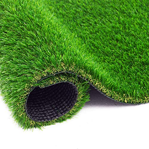 FOGUO Realistic Artificial Grass Turf, Thick Fake Grass Rug, Synthetic Turf Mat, Rubber Backed, Easy to Clean, Indoor Outdoor Garden Lawn Landscape