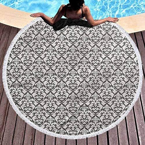 DWzinng Toalla de Playa Redonda,Elegante, Elegante y de Secado rápido.n Toalla de Playa con Motivos Florales Occidentales de Arte Floral (diámetro 150 cm)
