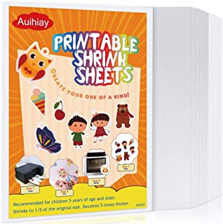 Auihiay 12 Pieces Printable Shrink Plastic Sheets, Shrink Films Papers for Kids Creative Craft, 6 White and 6 Semitranspar...