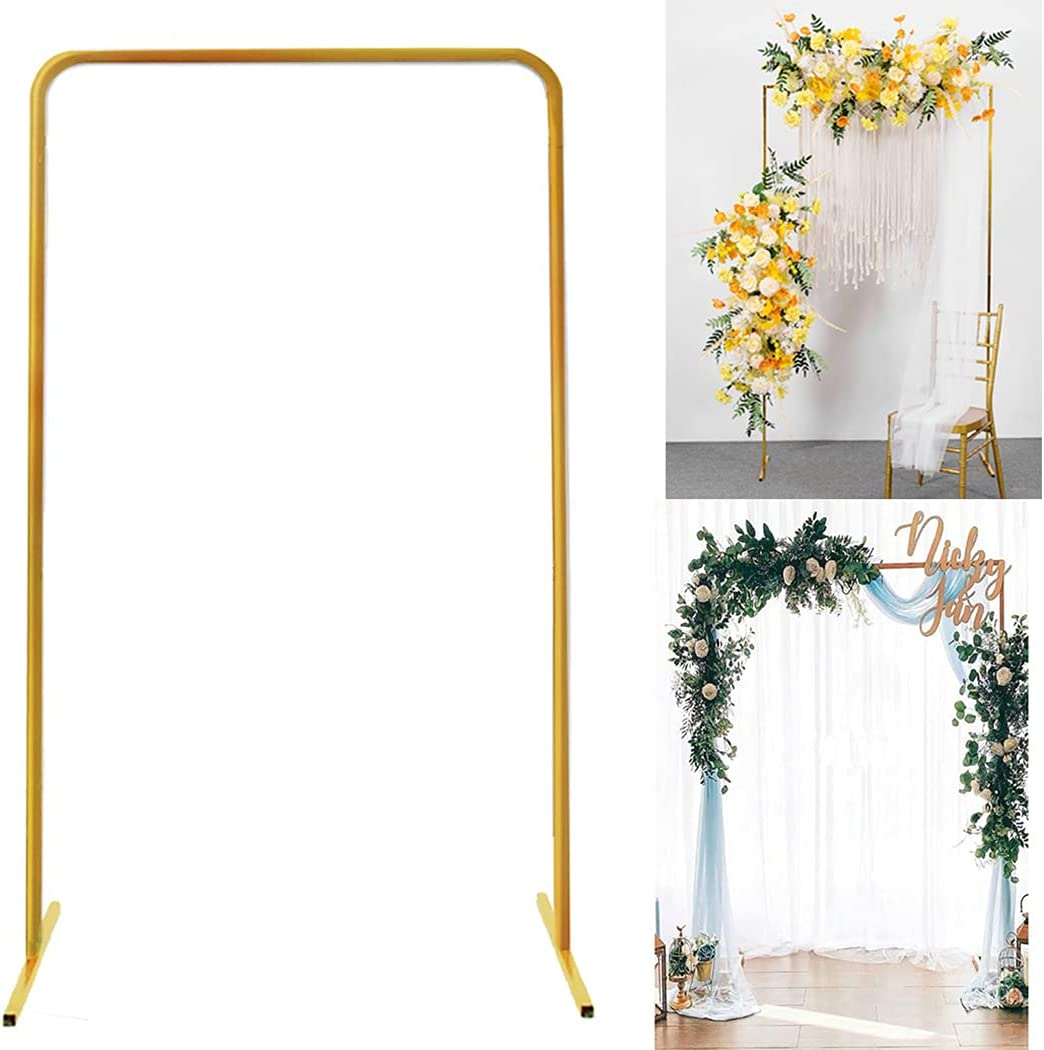 Wedding Arch Stand with Bases, 6.6 x 3.3 Feet Gold Square Garden Metal Arch for Flower Door Wrought Rack Iron Party Event Decoration