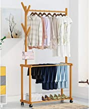 LEOPAX Rolling Coat Rack, Bamboo Garment Rack, Clothes Hanging Rail with 2 Shelves 4 Hooks, for Shoes, Hats and Scarves, in The Hallway, Living Room, Guest Room (Size : 80x37x175cm)