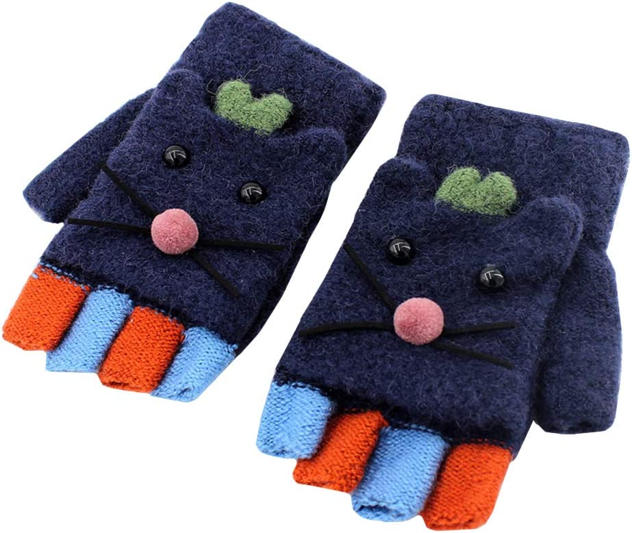 Amosfun 1 Pair Louisville-Jefferson County Mall Gloves Kids G Warm online shop Outdoor Knitted Cycling