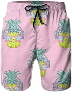 Men's Boy's Casual Novelty Beach Short Strawberry Pattern Background Swimming Trunks
