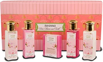 Nyassa Bath Ritual Gift Set with the signature Divine Lotus fragrance containing travel friendly sizes of a soap, shower gel, body lotion, shampoo and conditioner.No Parabens, Against animal testing.