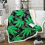 Cannabis Leaves Sherpa Blanket Marijuana Leaf Fleece Throw Blanket for Kids Adults Marijuana Weed Green Leaf Plush Blanket Hemp Botanical Fuzzy Blanket for Sofa Bed Couch,King 87x95 Inch