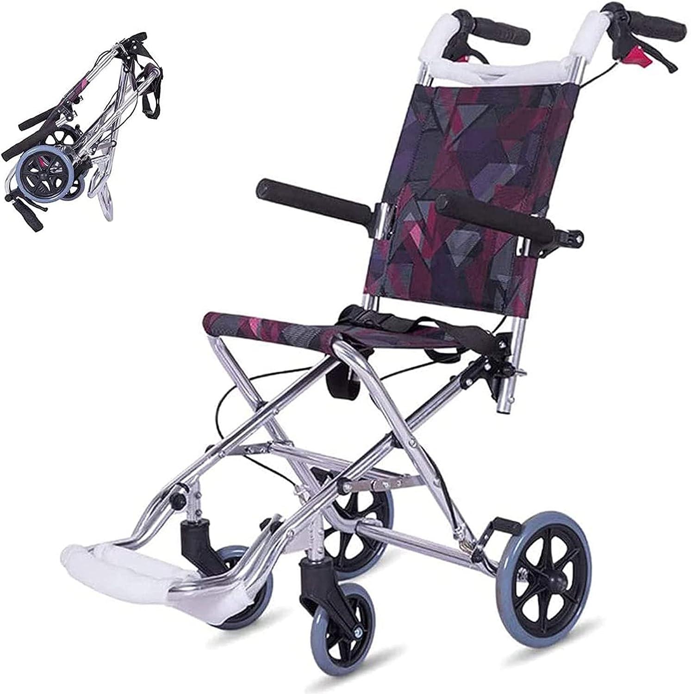 Silla de ruedas de viaje ligera Caiyuankai, con pedal plegable de freno Silla de ruedas de ayuda médica portátil para viajes al aire libre en casa, solo peso 6.5 kg Soporte 100 kg