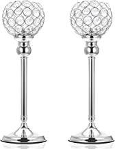 ManChDa Valentines Gift Silver Crystal Spherical Candle Holders Sets of 2 Wedding Table Centerpieces for Birthday Annivers...