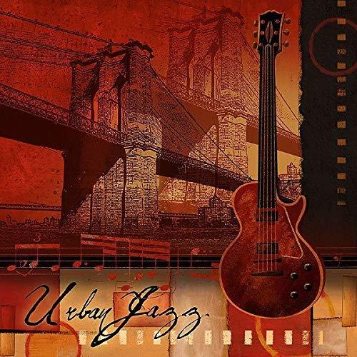 Rahmen-Kunst Keilrahmen-Bild – Conrad Knutsen: Urban Jazz Leinwandbild Musik New York Städte Gitarre rot