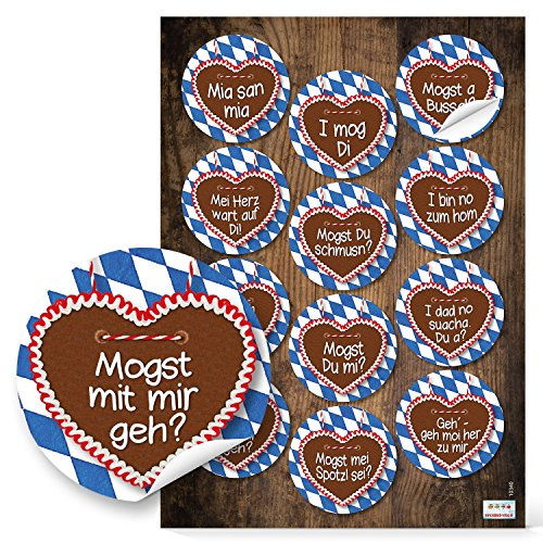 4 x 12 blau weiß karierte Bayern Lebkuchenherz Aufkleber Sticker 6 cm mit lustigen Sprüchen Mundart bayerisch wie Ich liebe Dich Ich mag Dich - ideal für Singels zum Oktoberfest Flirten und die Liebe