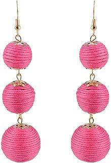 Thread Ball Dangle Earrings,Drop Earrings Wrapped Triple Balls Beaded Ball Ear Drop Charm Jewelry for Women Girls