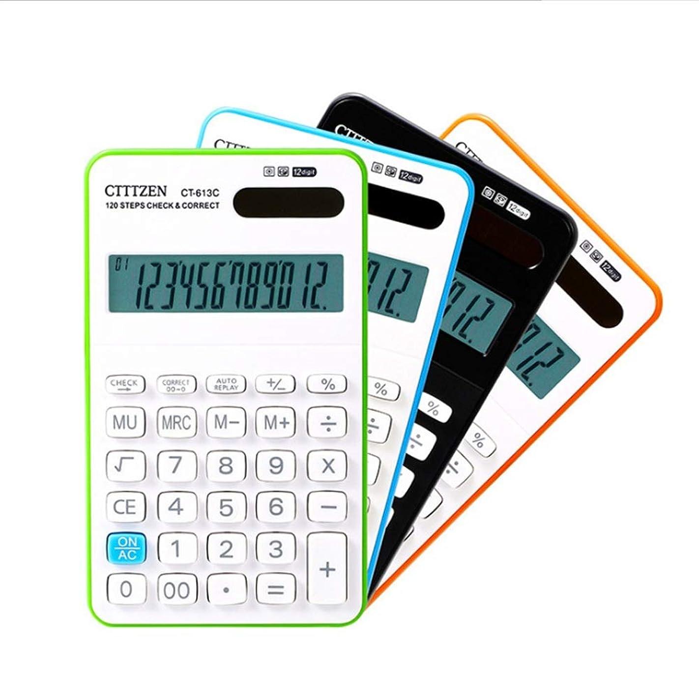 本質的に生むレクリエーション多機能 竹製電卓 12桁の大型ディスプレイ電卓ソーラーバッテリーLCDディスプレイオフィス電卓電子デスクトップ電卓ブラックブルーグリーンオレンジビジネスギフト (色 : 青)