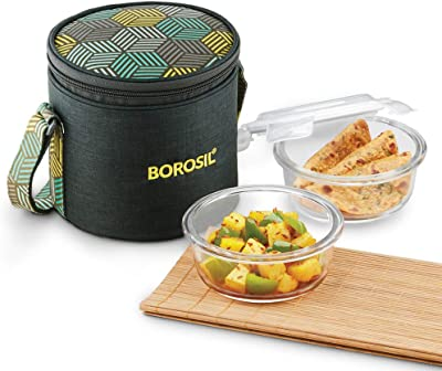 Borosil - Food Luck Glass Lunch Box Set of 2, 400ml, Vertical, Olive, Microwave Safe Office Tiffin