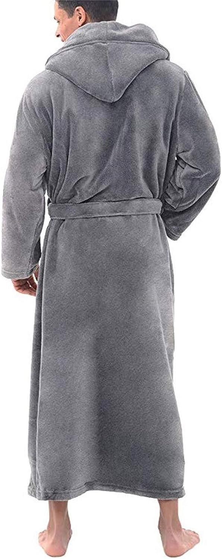 POLPqeD Accappatoio da Uomo con Scialle Allungato in Peluche Invernale da Uomo Vestiti per la casa Vestaglia a Maniche Lunghe