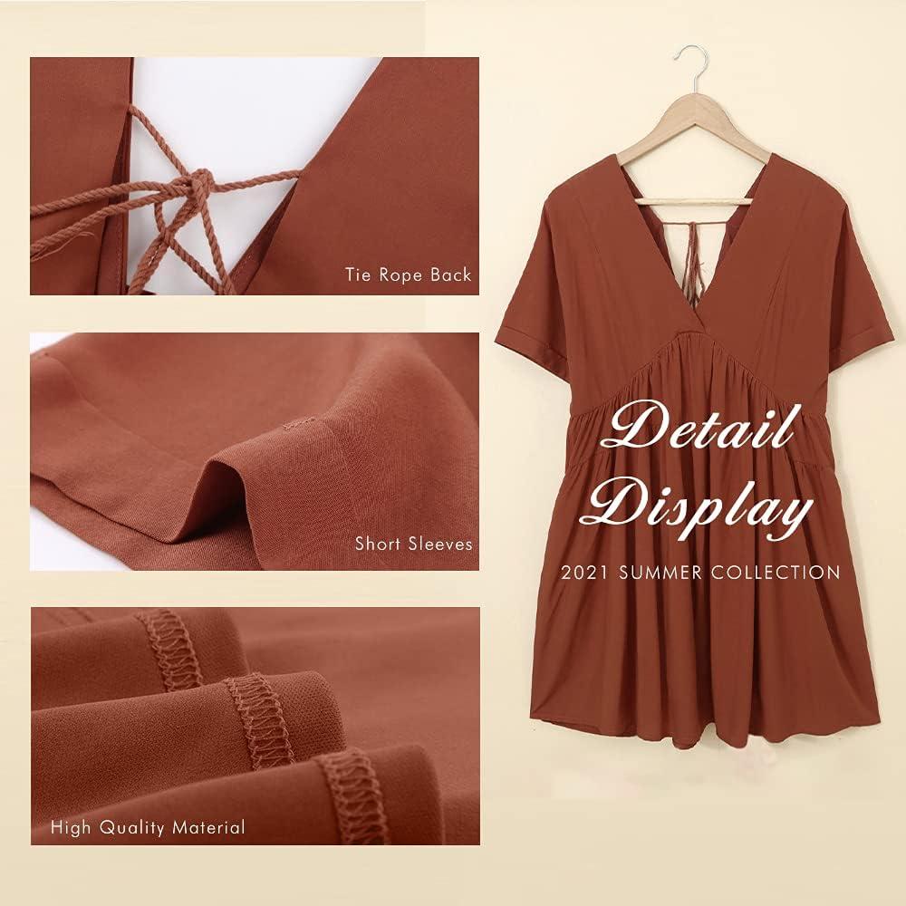 KIRUNDO Women's Summer V Neck Tunic Dress Casual Loose Flowy Mini Dress Tie Back Shift Dresses