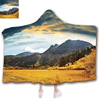 scocici Fashion Blanket Ancient China Decorations Blanket Wearable Hooded Blanket,Unisex Swaddle Blankets for Babies Newborn by,Golden Colored Grassland Sunlight DAR Clouds,Adult Style Children Style
