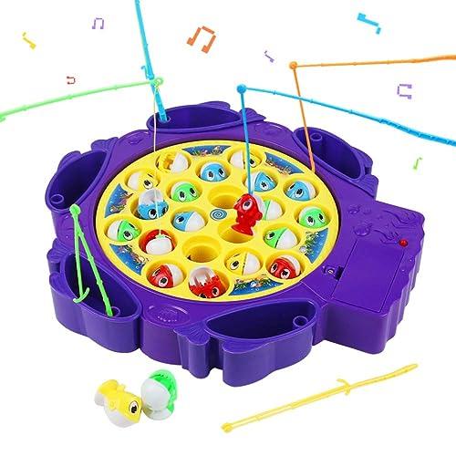 Jeux de Société Pêche à La Ligne Enfant Jeu Peche Musical 21 Poisson 6 Canne à Pêche Jouet pour Enfant Fille Garcon 3 4 5 Ans