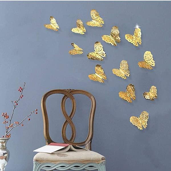 蓝图斯 12 件装创意 3D 镂空蝴蝶派对玫瑰金墙贴纸墙贴