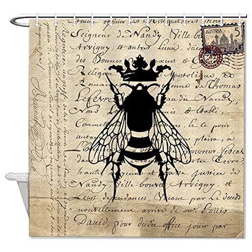 BYRON HOYLE Retro Stempel Schriftzug Bienen Duschvorhang Insekten Tier Duschvorhang mit Ringen Polyestergewebe Duschvorhänge mit Haken Bad Badezimmer Dekor 183 x 183 cm