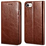 iPhone 7/8 Wallet Case, ICARERCASE iPhone SE Case 2nd Generation Premium PU Leather Folio Flip Cover with Kickstand and Credit Slots for Apple iPhone 7/8/SE 4.7 Inch (Brown)