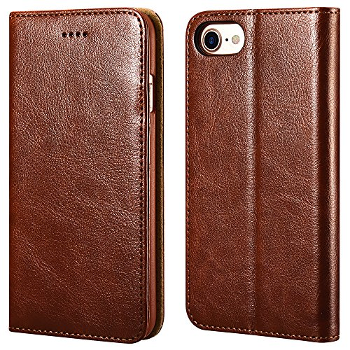 ICARER iPhone SE 2020 iPhone 7/8 Ledertasche Hülle, Wallet Ledertasche Tasche Leder mit Standfunktion Karte Halter & Bargeld Platz Tasche für Apple iPhone 7/8 iPhone SE 2020 4,7 Zoll (Braun)