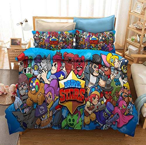 Resuket Brawl-Stars Bedding Set Sky Blue Color Duvet Cover Pillow Cases Twin Size 3pcs