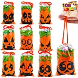 108 Pcs Halloween Treat Bag with Drawstrings, Small Orange Candy Bags in 9 Pumpkin Face Designs,...