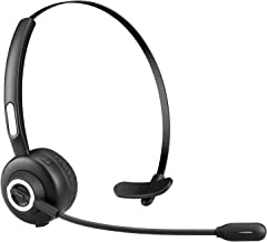 TURN RAISE V4.1 Bluetooth Headset/Truck Driver Headset, Wireless Office Headset, Over Head Earpiece with Noise Reduction Mic for Phones, Skype, Call Center, Office (Support Media Playing)
