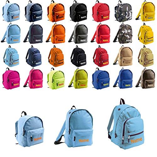 Mochila con nombre bordado personalizable, en diferentes tamaños (para niños y adultos), azul claro, Klein