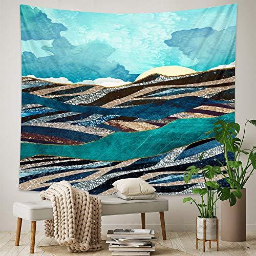 KHKJ Tapiz de Pintura al óleo de Paisaje nórdico Dormitorio decoración del hogar Tapiz colchón Decorativo Bohemio Manta de sofá A3 150x130cm