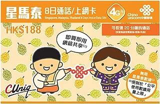 China Unicom 4G Singapore, Malaysia, Thailand 7 Days Voice/Unlimited Data SIM Card