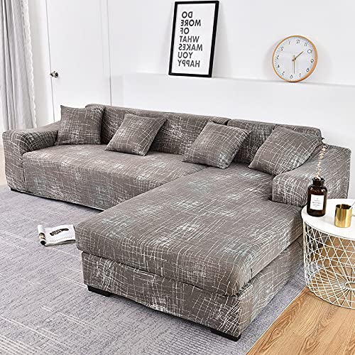 LIWENFU Sofa-Cover-elastische Couch-Cover-Sektionsstuhlabdeckung Es braucht Ordnung 2pieces-Sofa-Cover Wenn Ihr Sofa Eck-L-Form-Sofa ist (Color : Color22, Specification : 4 Seater 235 300cm)