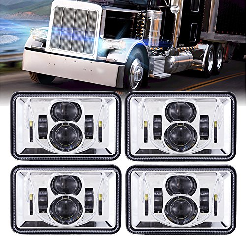 BICYACO (4 PCS) DOT Approved 60W 4x6 Inch LED Headlights Rectangular Replacement H4651 H4652 H4656 H4666 H6545 for Peterbilt Kenworth Freightinger Ford Probe Chevrolet Oldsmobile Cutlass -Chrome