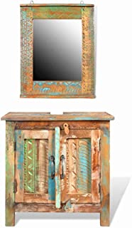 Bathroom Vanity Cabinet and Bathroom Vanity Mirror Reclaimed Solid Wood 24
