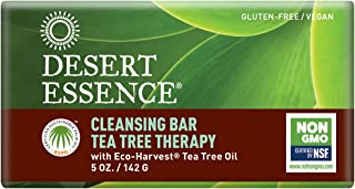 Desert Essence Tea Tree Therapy Cleansing Bar Soap - 5 Ounce - Therapeutic Skincare - All Skin Types - Jojoba Oil - Aloe Vera - Palm Oil - Moisturizes Face and Body