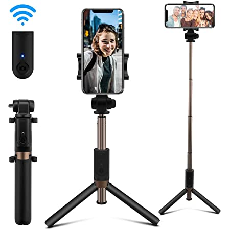 AFAITH Bastone Selfie Bluetooth, Estensibile Selfie Stick Treppiede con Telecomando Ricaricabile per iPhone XS Max/XS/XR/X / 8 Plus / 8/7/7 Plus / 6S / 6 Galaxy Note 8 / S9 / S8 / S10 Xiaomi
