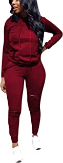 Women 2 Pieces Outfit Solid Color Sweatsuit Long Sleeve Hoodie Long Pants Tracksuit