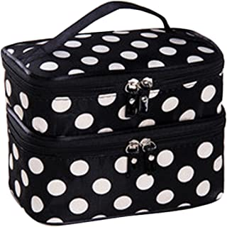 JOVANA Double Layer Cosmetic Bag Black with White Dot Travel Toiletry Cosmetic Makeup Bag Organizer With Mirror