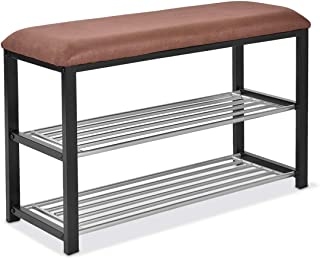 Giantex 2 Tier Entryway Storage Bench w/Shoe Rack Shelf Soft Stool Seat Home Furniture Shoe Organizer (Black)