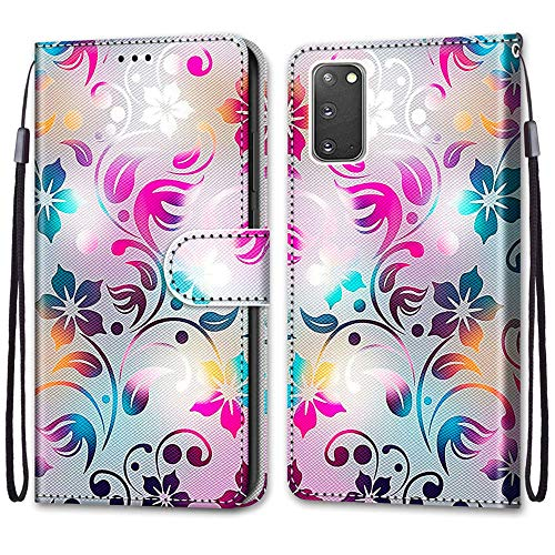Nadoli Handyhülle Leder für Samsung Galaxy S20 Plus,Bunt Bemalt Gradient Bunt Blumen Trageschlaufe Kartenfach Magnet Ständer Schutzhülle Brieftasche Ledertasche Tasche Etui