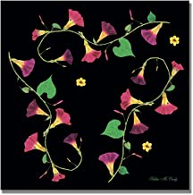 Pressed Flowers Morning Glories by Kathie McCurdy, 18x18-Inch Canvas Wall Art