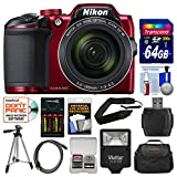 Nikon Coolpix B500 Wi-Fi Digital Camera (Red) with 64GB Card + Case + Flash + Batteries & Charger + Tripod + Strap + Kit (Renewed)